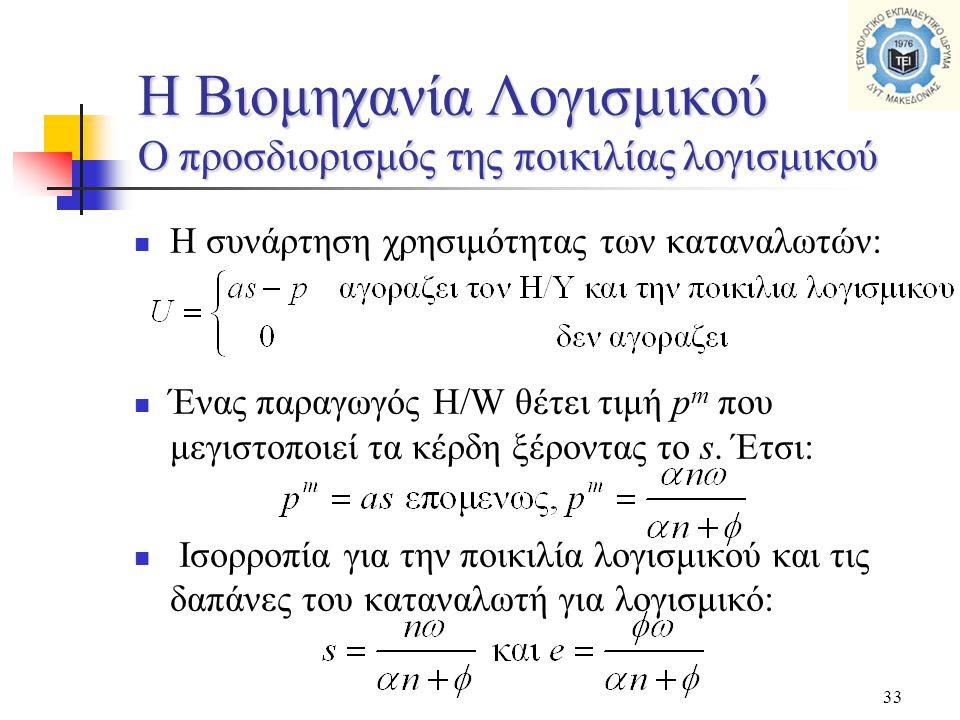 33  Η συνάρτηση χρησιμότητας των καταναλωτών:  Ένας παραγωγός H/W θέτει τιμή p m που μεγιστοποιεί τα κέρδη ξέροντας το s. Έτσι:  Ισορροπία για την