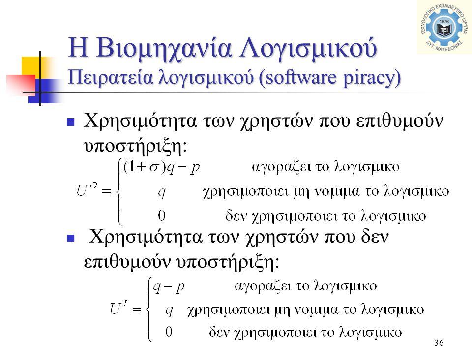 36  Χρησιμότητα των χρηστών που επιθυμούν υποστήριξη:  Χρησιμότητα των χρηστών που δεν επιθυμούν υποστήριξη: H Βιομηχανία Λογισμικού Πειρατεία λογισμικού (software piracy)