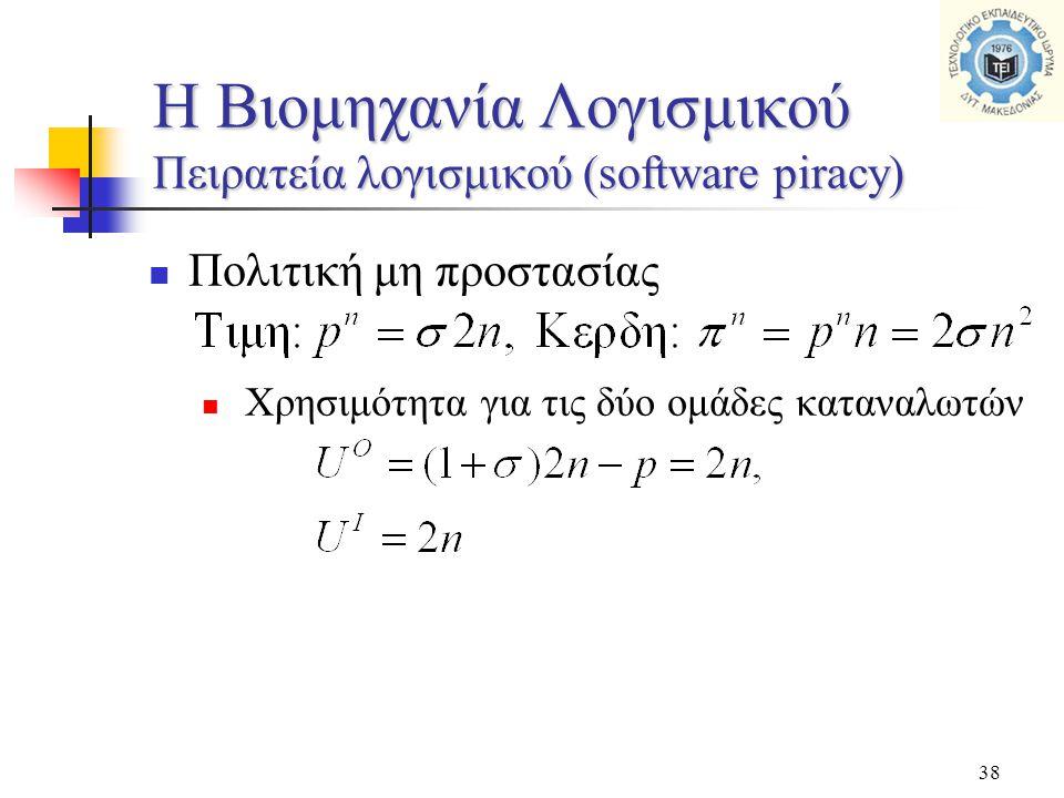 38  Πολιτική μη προστασίας  Χρησιμότητα για τις δύο ομάδες καταναλωτών H Βιομηχανία Λογισμικού Πειρατεία λογισμικού (software piracy)