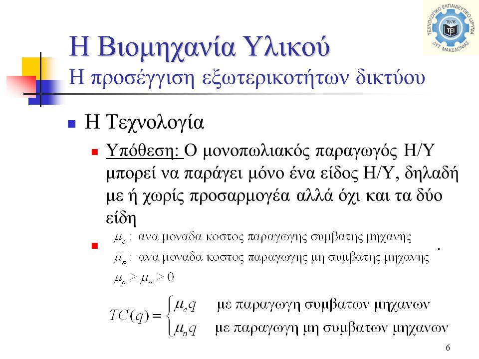 6  Η Τεχνολογία  Υπόθεση: Ο μονοπωλιακός παραγωγός Η/Υ μπορεί να παράγει μόνο ένα είδος Η/Υ, δηλαδή με ή χωρίς προσαρμογέα αλλά όχι και τα δύο είδη .