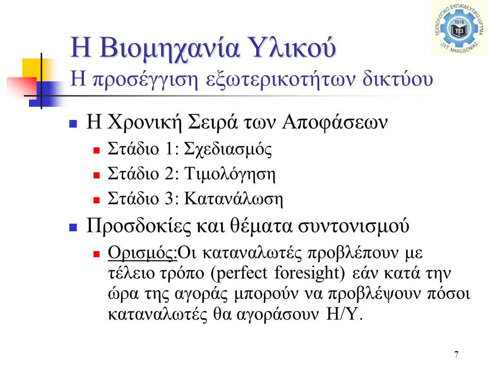 7  Η Χρονική Σειρά των Αποφάσεων  Στάδιο 1: Σχεδιασμός  Στάδιο 2: Τιμολόγηση  Στάδιο 3: Κατανάλωση  Προσδοκίες και θέματα συντονισμού  Ορισμός:Ο