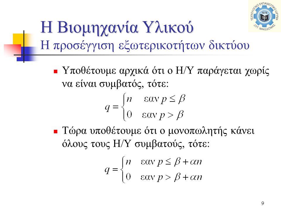 9  Υποθέτουμε αρχικά ότι ο Η/Υ παράγεται χωρίς να είναι συμβατός, τότε:  Τώρα υποθέτουμε ότι ο μονοπωλητής κάνει όλους τους Η/Υ συμβατούς, τότε: Η Β
