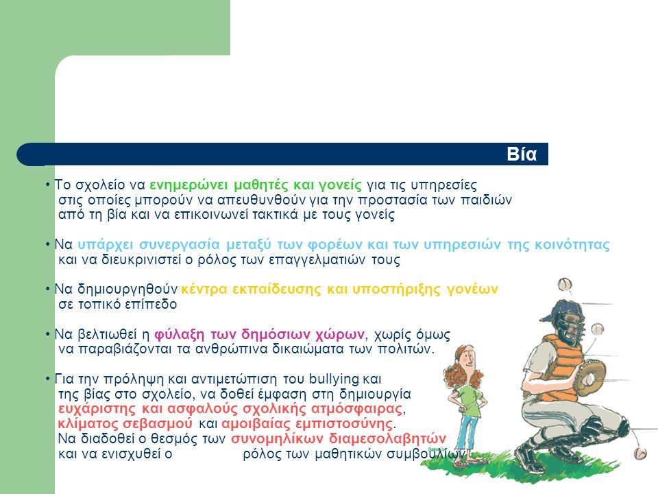 Βία • Το σχολείο να ενημερώνει μαθητές και γονείς για τις υπηρεσίες στις οποίες μπορούν να απευθυνθούν για την προστασία των παιδιών από τη βία και να επικοινωνεί τακτικά με τους γονείς • Να υπάρχει συνεργασία μεταξύ των φορέων και των υπηρεσιών της κοινότητας και να διευκρινιστεί ο ρόλος των επαγγελματιών τους • Να δημιουργηθούν κέντρα εκπαίδευσης και υποστήριξης γονέων σε τοπικό επίπεδο • Να βελτιωθεί η φύλαξη των δημόσιων χώρων, χωρίς όμως να παραβιάζονται τα ανθρώπινα δικαιώματα των πολιτών.