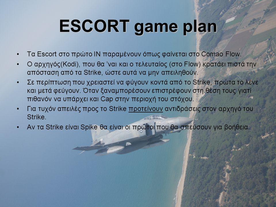 ESCORT game plan •Τα Escort στο πρώτο ΙΝ παραμένουν όπως φαίνεται στο Comao Flow.