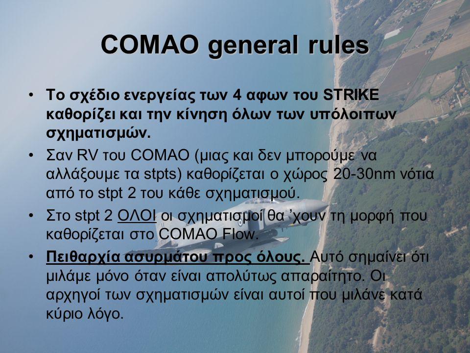 COMAO general rules •Το σχέδιο ενεργείας των 4 αφων του STRIKE καθορίζει και την κίνηση όλων των υπόλοιπων σχηματισμών.