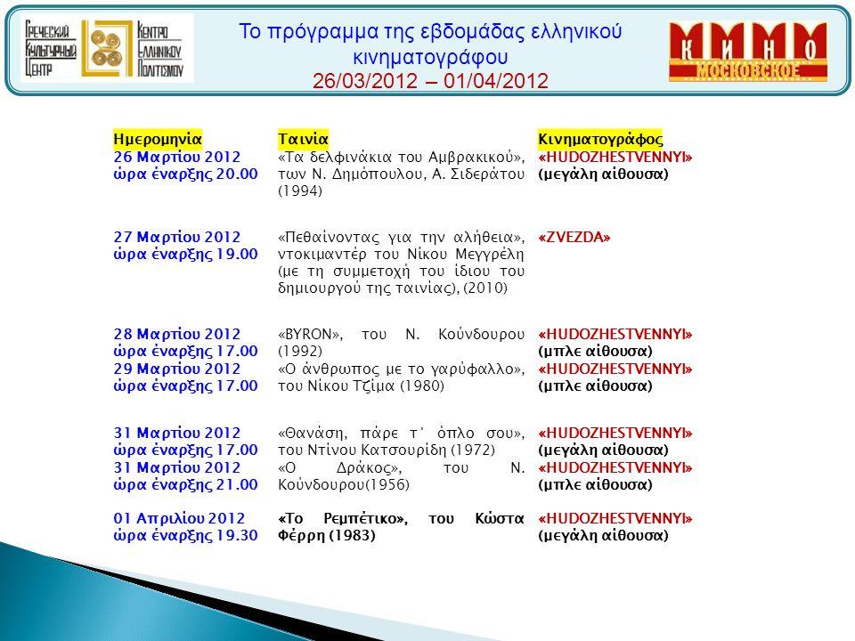 Το πρόγραμμα της εβδομάδας ελληνικού κινηματογράφου 26/03/2012 – 01/04/2012 ΗμερομηνίαΤαινίαΚινηματογράφος 26 Μαρτίου 2012 ώρα έναρξης 20.00 «Τα δελφι