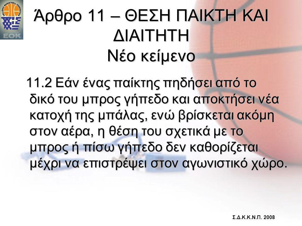 Άρθρο 11 – ΘΕΣΗ ΠΑΙΚΤΗ ΚΑΙ ΔΙΑΙΤΗΤΗ Νέο κείμενο 11.2 Εάν ένας παίκτης πηδήσει από το δικό του μπρος γήπεδο και αποκτήσει νέα κατοχή της μπάλας, ενώ βρ