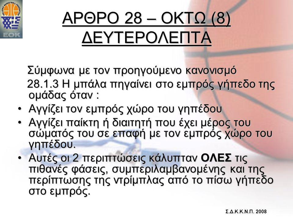 ΑΡΘΡΟ 28 – ΟΚΤΩ (8) ΔΕΥΤΕΡΟΛΕΠΤΑ Σύμφωνα με τον προηγούμενο κανονισμό Σύμφωνα με τον προηγούμενο κανονισμό 28.1.3 Η μπάλα πηγαίνει στο εμπρός γήπεδο τ