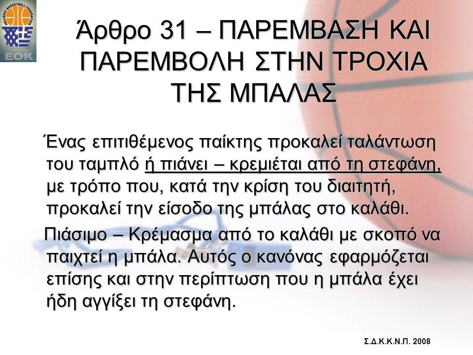 Άρθρο 31 – ΠΑΡΕΜΒΑΣΗ ΚΑΙ ΠΑΡΕΜΒΟΛΗ ΣΤΗΝ ΤΡΟΧΙΑ ΤΗΣ ΜΠΑΛΑΣ Ένας επιτιθέμενος παίκτης προκαλεί ταλάντωση του ταμπλό ή πιάνει – κρεμιέται από τη στεφάνη,