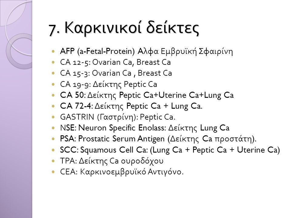 7. Καρκινικοί δείκτες  AFP (a-Fetal-Protein) A λφα Εμβρυϊκή Σφαιρίνη  CA 12-5: Ovarian Ca, Breast Ca  CA 15-3: Ovarian Ca, Breast Ca  CA 19-9: Δεί