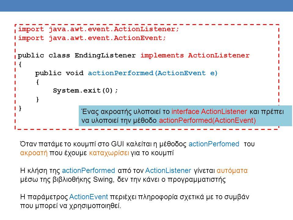 import java.awt.event.ActionListener; import java.awt.event.ActionEvent; public class EndingListener implements ActionListener { public void actionPerformed(ActionEvent e) { System.exit(0); } Ένας ακροατής υλοποιεί το interface ActionListener και πρέπει να υλοποιεί την μέθοδο actionPerformed(ActionEvent) Όταν πατάμε το κουμπί στο GUI καλείται η μέθοδος actionPerfomed του ακροατή που έχουμε καταχωρίσει για το κουμπί Η κλήση της actionPerformed από τον ActionListener γίνεται αυτόματα μέσω της βιβλιοθήκης Swing, δεν την κάνει ο προγραμματιστής Η παράμετρος ActionEvent περιέχει πληροφορία σχετικά με το συμβάν που μπορεί να χρησιμοποιηθεί.