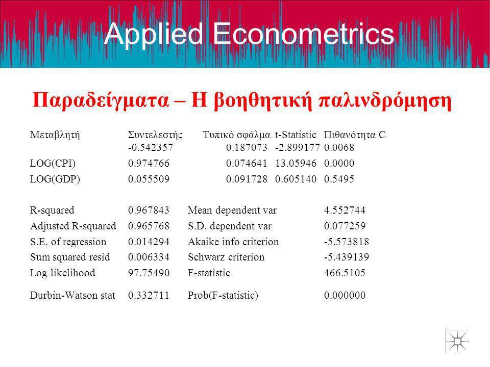Applied Econometrics Παραδείγματα – Η βοηθητική παλινδρόμηση ΜεταβλητήΣυντελεστής Τυπικό σφάλμαt-StatisticΠιθανότητα C -0.5423570.187073-2.8991770.006