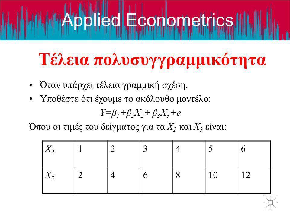 Applied Econometrics Τέλεια πολυσυγγραμμικότητα •Όταν υπάρχει τέλεια γραμμική σχέση. •Υποθέστε ότι έχουμε το ακόλουθο μοντέλο: Y=β 1 +β 2 X 2 + β 3 X