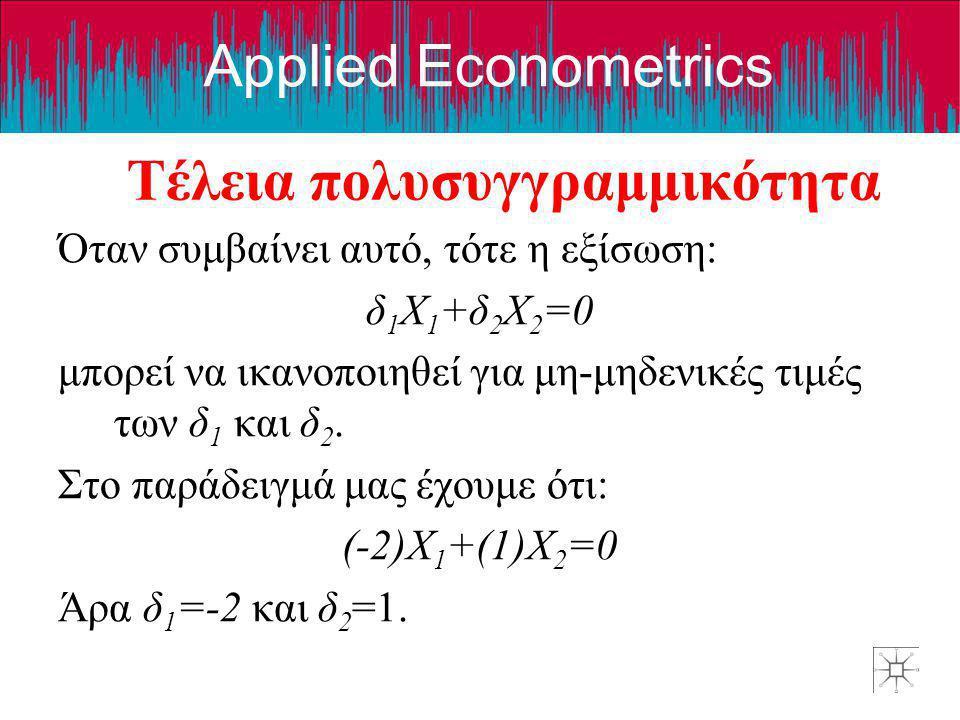 Applied Econometrics Τέλεια πολυσυγγραμμικότητα Όταν συμβαίνει αυτό, τότε η εξίσωση: δ 1 X 1 +δ 2 X 2 =0 μπορεί να ικανοποιηθεί για μη-μηδενικές τιμές