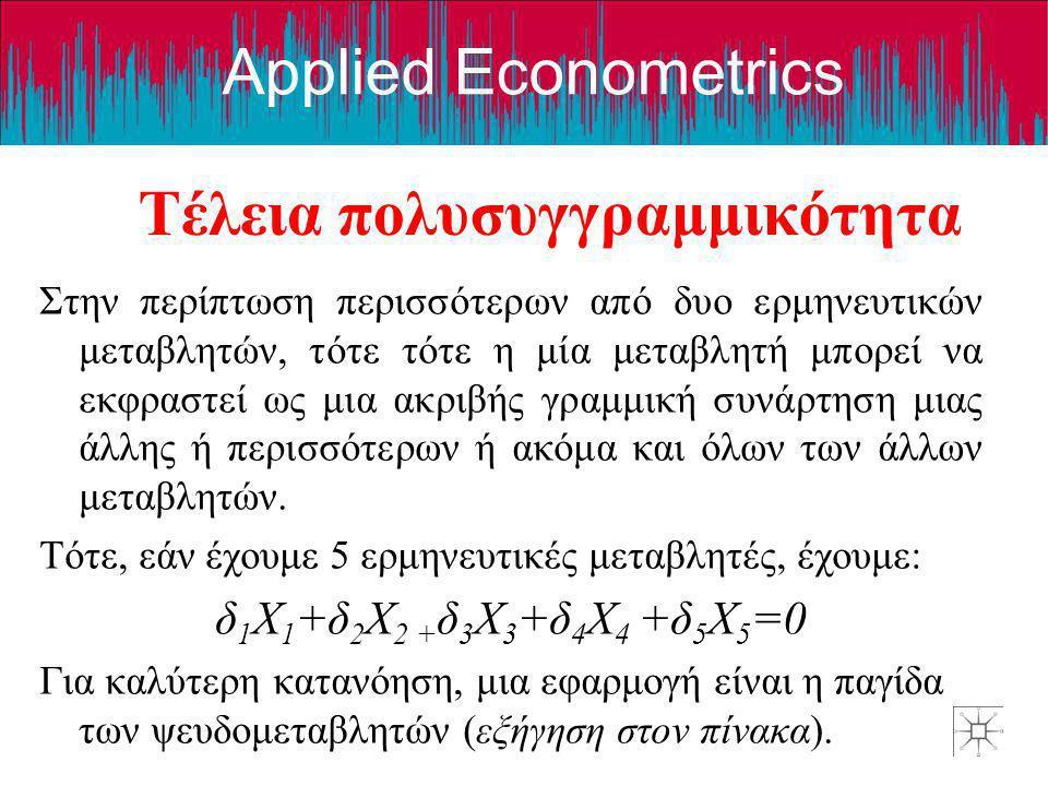 Applied Econometrics Τέλεια πολυσυγγραμμικότητα Στην περίπτωση περισσότερων από δυο ερμηνευτικών μεταβλητών, τότε τότε η μία μεταβλητή μπορεί να εκφρα
