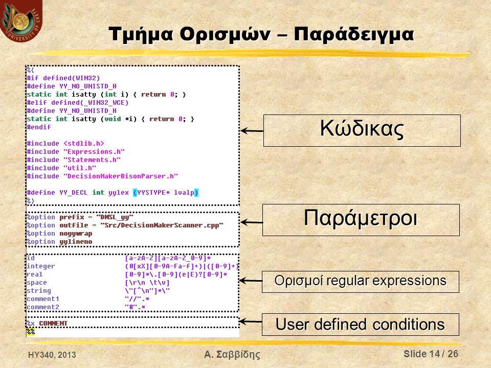 Α. Σαββίδης Τμήμα Ορισμών – Παράδειγμα Κώδικας Παράμετροι Ορισμοί regular expressions User defined conditions Slide 14 / 26 HY340, 2013