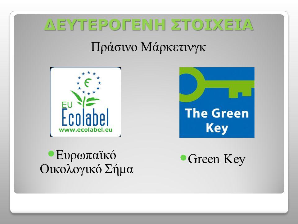 ΔΕΥΤΕΡΟΓΕΝΗ ΣΤΟΙΧΕΙΑ  Ευρωπαϊκό Οικολογικό Σήμα  Green Key Πράσινο Μάρκετινγκ
