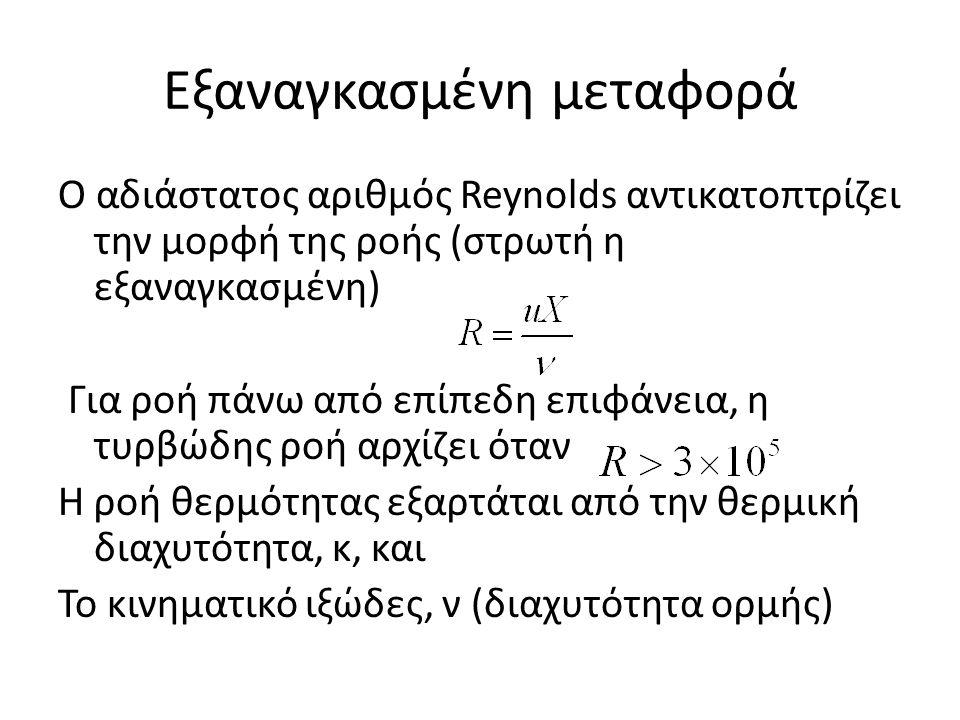 Εξαναγκασμένη μεταφορά Ο αδιάστατος αριθμός Reynolds αντικατοπτρίζει την μορφή της ροής (στρωτή η εξαναγκασμένη) Για ροή πάνω από επίπεδη επιφάνεια, η