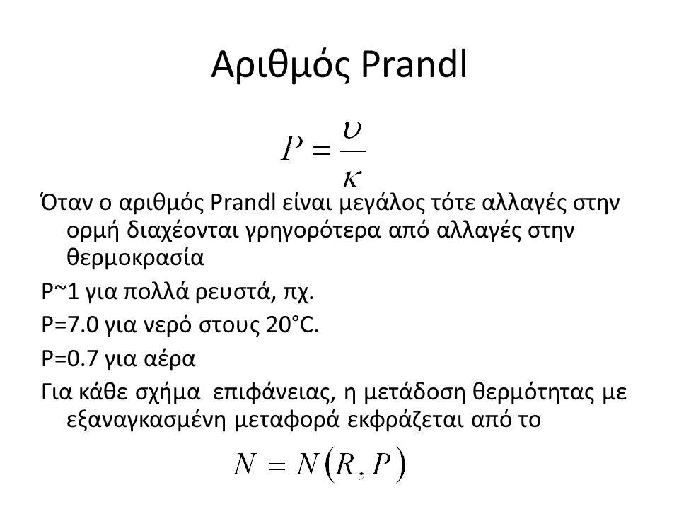 Αριθμός Prandl Όταν ο αριθμός Prandl είναι μεγάλος τότε αλλαγές στην ορμή διαχέονται γρηγορότερα από αλλαγές στην θερμοκρασία P~1 για πολλά ρευστά, πχ