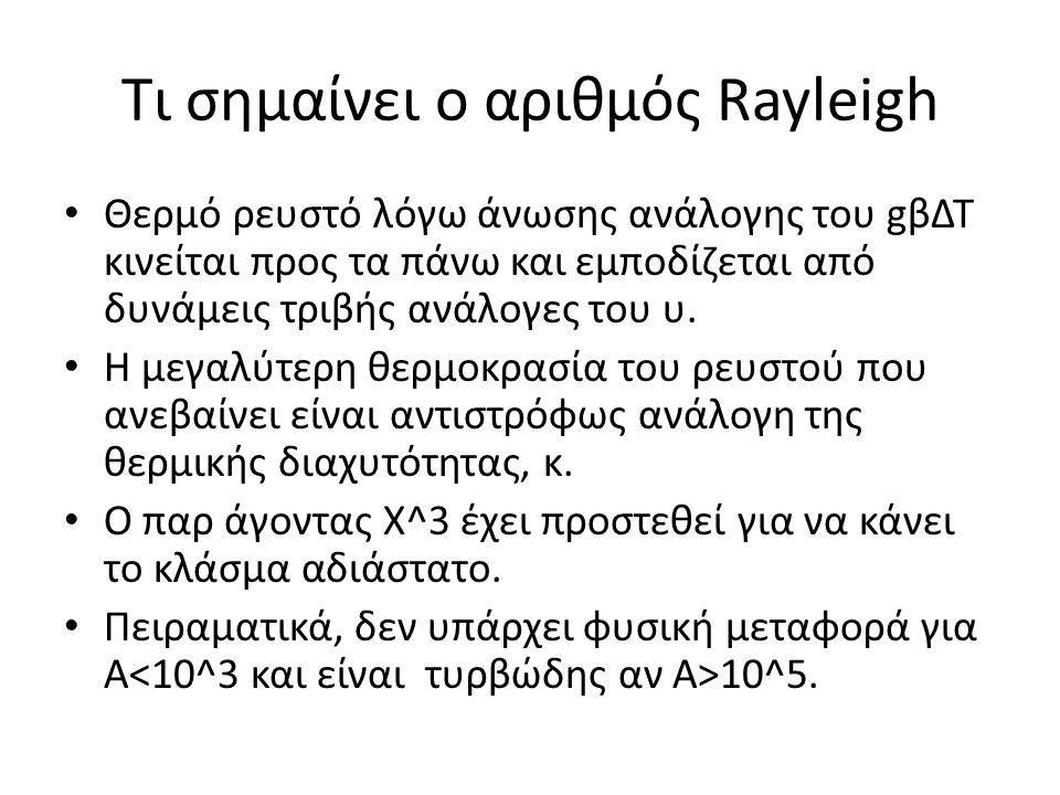 Τι σημαίνει ο αριθμός Rayleigh • Θερμό ρευστό λόγω άνωσης ανάλογης του gβΔΤ κινείται προς τα πάνω και εμποδίζεται από δυνάμεις τριβής ανάλογες του υ.