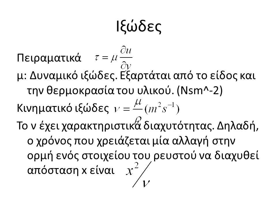 Ιξώδες Πειραματικά μ: Δυναμικό ιξώδες. Εξαρτάται από το είδος και την θερμοκρασία του υλικού. (Νsm^-2) Κινηματικό ιξώδες Το ν έχει χαρακτηριστικά διαχ