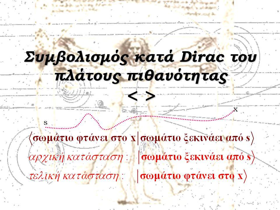 Συμβολισμός κατά Dirac του πλάτους πιθανότητας s x