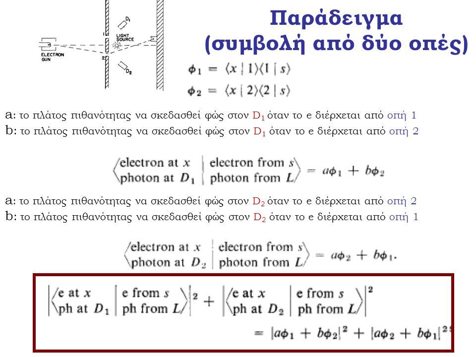 Παράδειγμα (συμβολή από δύο οπές) a : το πλάτος πιθανότητας να σκεδασθεί φώς στον D 1 όταν το e διέρχεται από οπή 1 b : το πλάτος πιθανότητας να σκεδα