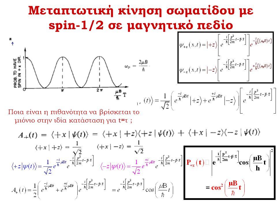 Μεταπτωτική κίνηση σωματίδου με spin-1/2 σε μαγνητικό πεδίο Ποια είναι η πιθανότητα να βρίσκεται το μιόνιο στην ιδία κατάσταση για t=τ ;