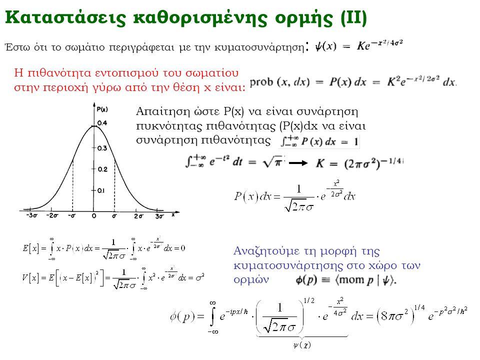 Καταστάσεις καθορισμένης ορμής (ΙΙ) Έστω ότι το σωμάτιο περιγράφεται με την κυματοσυνάρτηση : Η πιθανότητα εντοπισμού του σωματίου στην περιοχή γύρω α