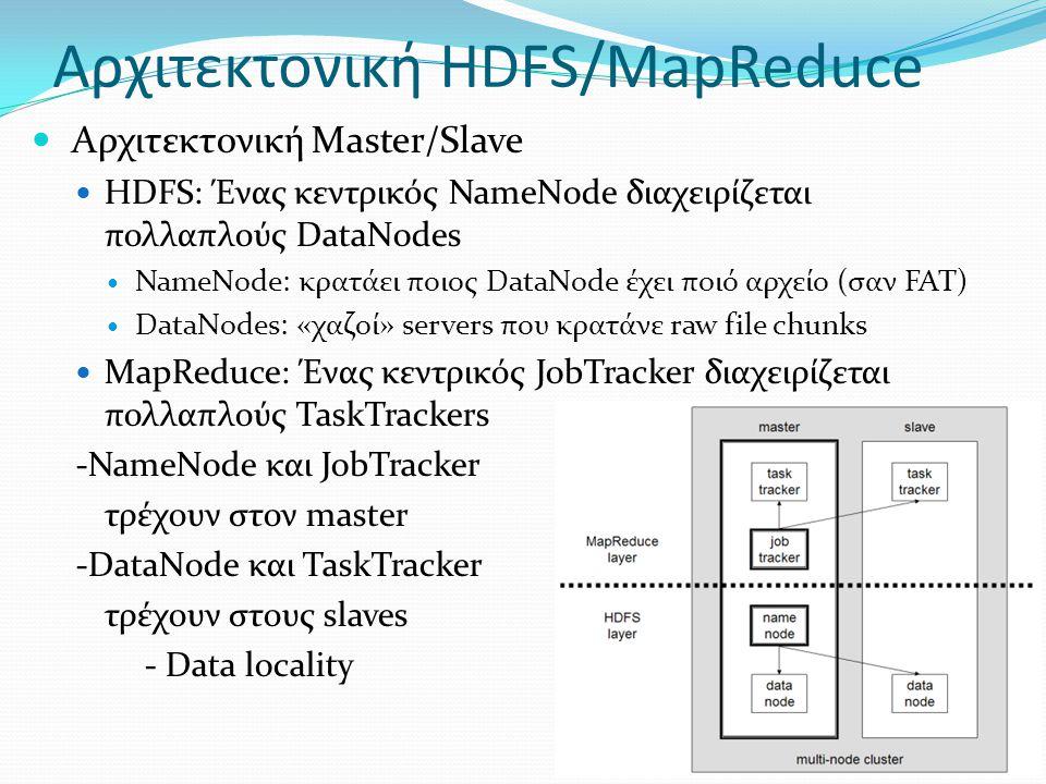Αρχιτεκτονική HDFS/MapReduce  Αρχιτεκτονική Master/Slave  HDFS: Ένας κεντρικός NameNode διαχειρίζεται πολλαπλούς DataNodes  NameNode: κρατάει ποιος