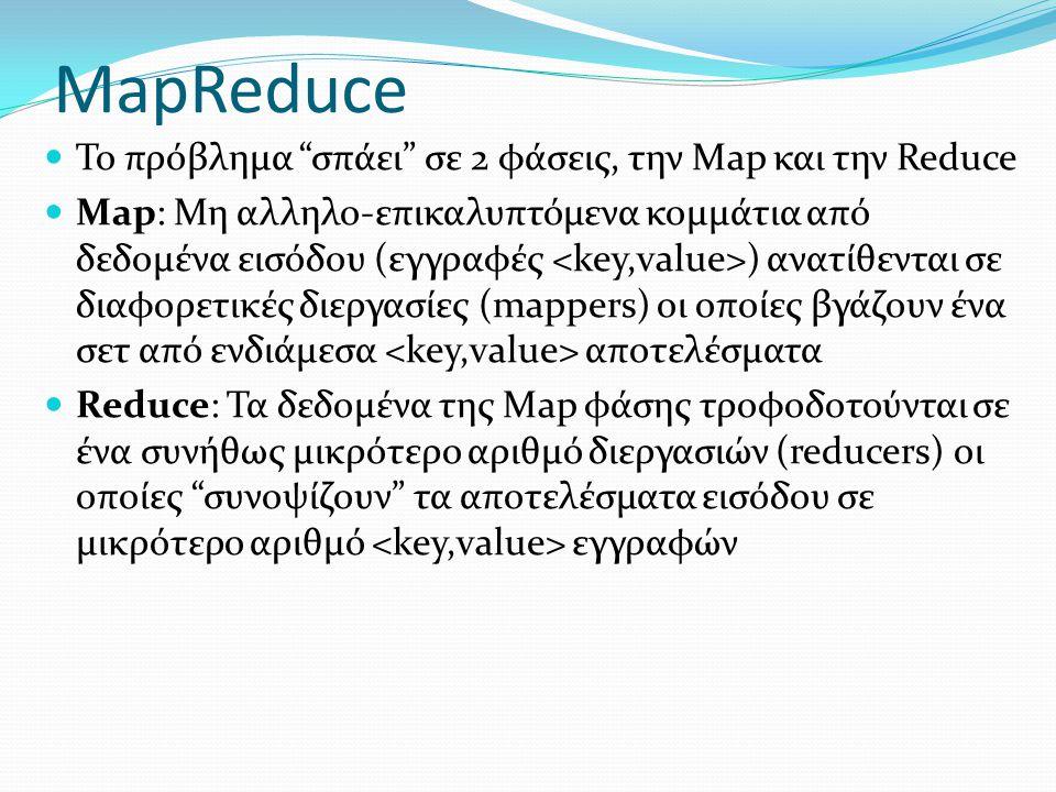 "MapReduce  Το πρόβλημα ""σπάει"" σε 2 φάσεις, την Map και την Reduce  Map: Μη αλληλο-επικαλυπτόμενα κομμάτια από δεδομένα εισόδου (εγγραφές ) ανατίθεν"