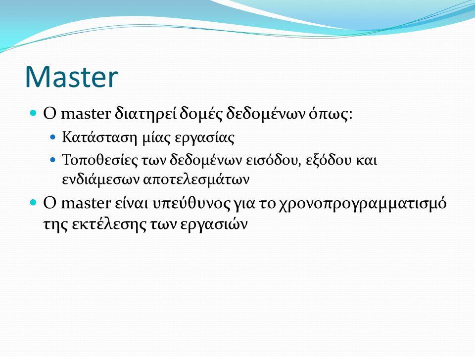 Master  Ο master διατηρεί δομές δεδομένων όπως:  Κατάσταση μίας εργασίας  Τοποθεσίες των δεδομένων εισόδου, εξόδου και ενδιάμεσων αποτελεσμάτων  Ο