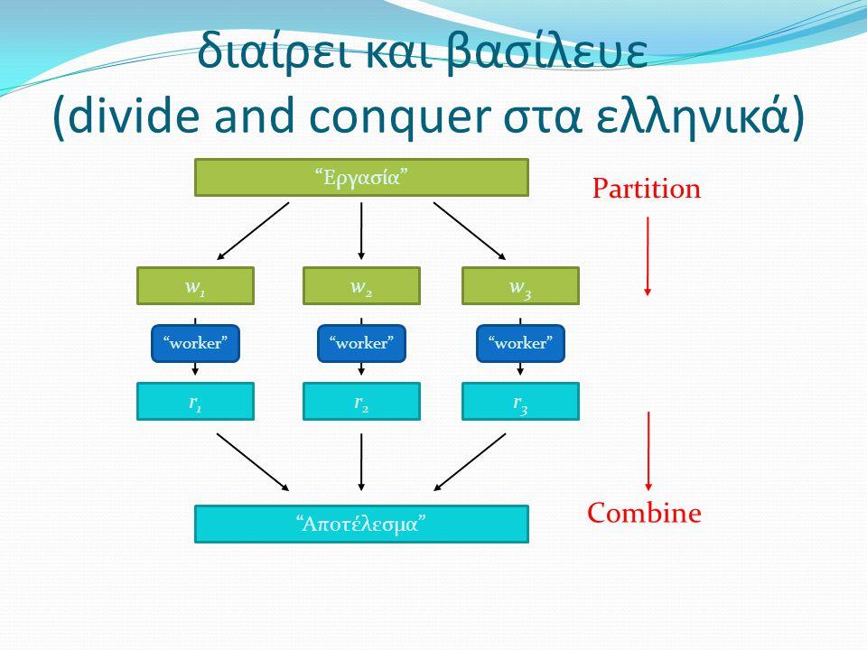 Παράδειγμα: Μέτρηση λέξεων 1/3  Στόχος: μέτρηση της συχνότητας εμφάνισης λέξεων σε ένα μεγάλο σύνολο κειμένων  Πιθανή χρήση: Εύρεση δημοφιλών url σε webserver logfiles  Πλάνο υλοποίησης:  Ανέβασμα των κειμένων στο MapReduce  Γράφω μια map και μια reduce συνάρτηση  Τρέχω μια MapReduce εργασία  Παίρνω πίσω τα αποτελέσματα