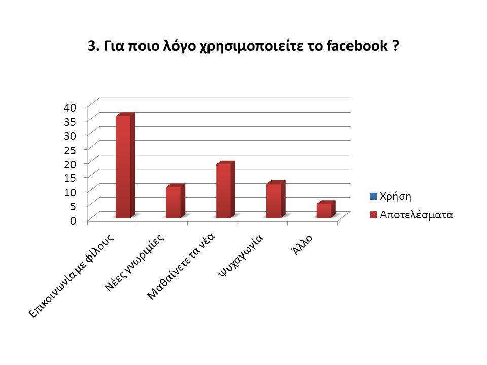 3. Για ποιο λόγο χρησιμοποιείτε το facebook ?