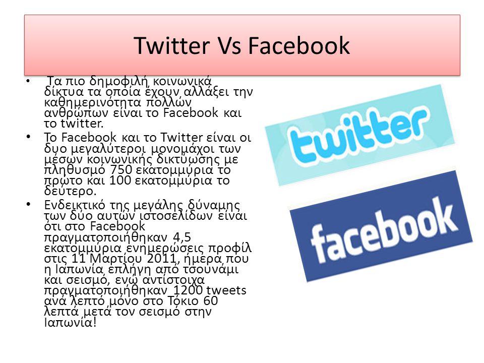 Twitter Vs Facebook • Τα πιο δημοφιλή κοινωνικά δίκτυα τα οποία έχουν αλλάξει την καθημερινότητα πολλών ανθρώπων είναι το Facebook και το twitter. • Τ