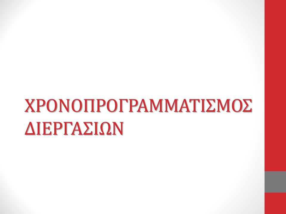 ΧΡΟΝΟΠΡΟΓΡΑΜΜΑΤΙΣΜΟΣ ΔΙΕΡΓΑΣΙΩΝ