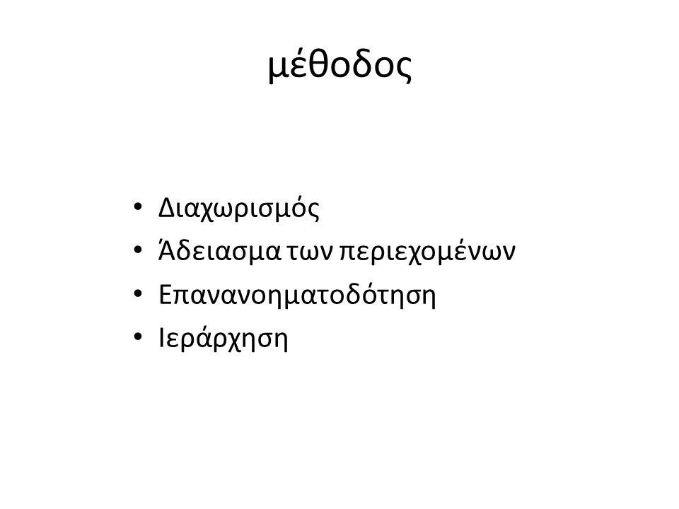 μέθοδος • Διαχωρισμός • Άδειασμα των περιεχομένων • Επανανοηματοδότηση • Ιεράρχηση