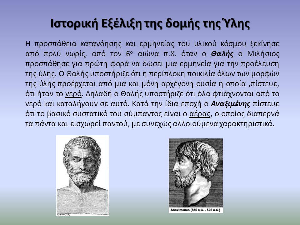 Ιστορική Εξέλιξη της δομής της Ύλης Η προσπάθεια κατανόησης και ερμηνείας του υλικού κόσμου ξεκίνησε από πολύ νωρίς, από τον 6 ο αιώνα π.Χ. όταν ο Θαλ