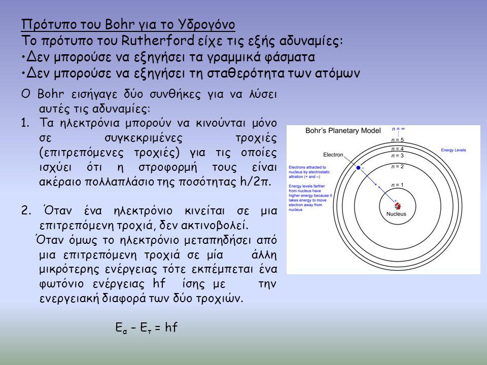 Πρότυπο του Bohr για το Υδρογόνο Το πρότυπο του Rutherford είχε τις εξής αδυναμίες: •Δεν μπορούσε να εξηγήσει τα γραμμικά φάσματα •Δεν μπορούσε να εξη