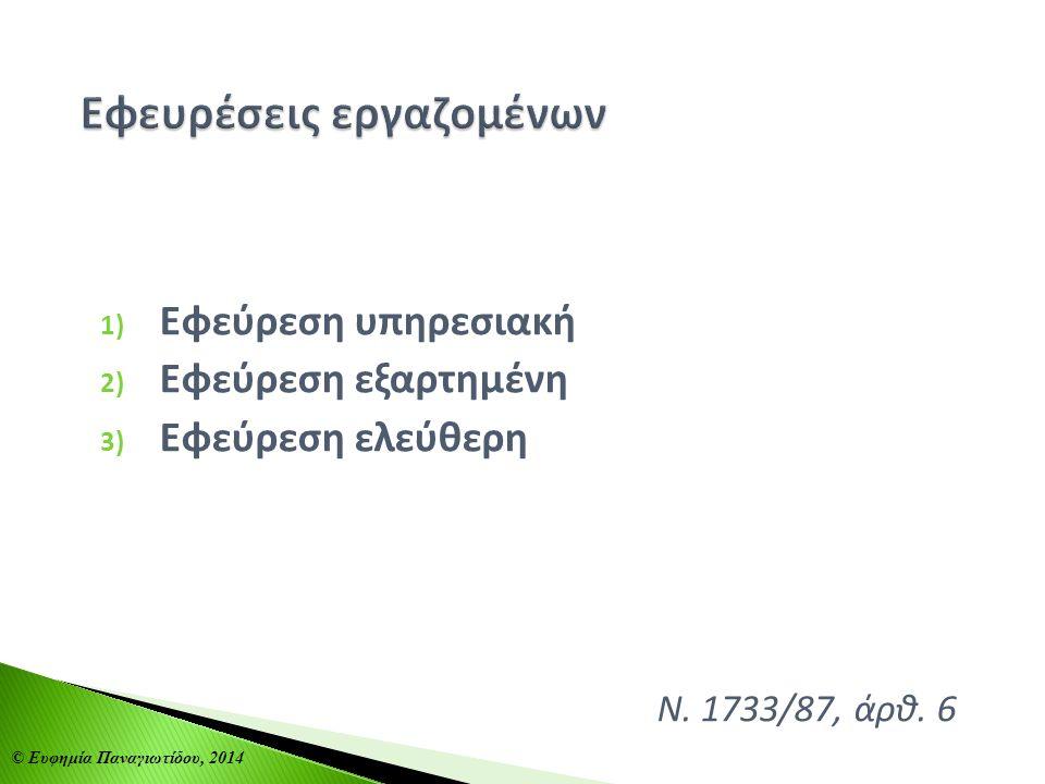 1) Εφεύρεση υπηρεσιακή 2) Εφεύρεση εξαρτημένη 3) Εφεύρεση ελεύθερη Ν. 1733/87, άρθ. 6 © Ευφημία Παναγιωτίδου, 2014