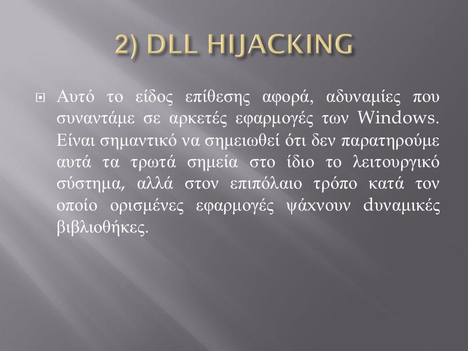  Αυτό το είδος επίθεσης αφορά, αδυναμίες που συναντάμε σε αρκετές εφαρμογές των Windows.