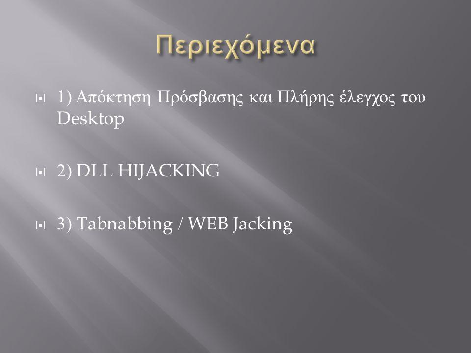  1) Απόκτηση Πρόσβασης και Πλήρης έλεγχος του Desktop  2) DLL HIJACKING  3) Tabnabbing / WEB Jacking