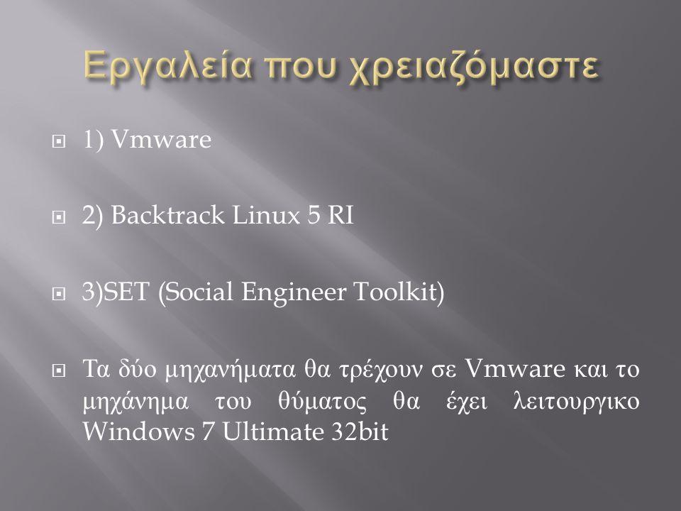  1) Vmware  2) Backtrack Linux 5 RI  3)SET (Social Engineer Toolkit)  Τα δύο μηχανήματα θα τρέχουν σε Vmware και το μηχάνημα του θύματος θα έχει λειτουργικο Windows 7 Ultimate 32bit