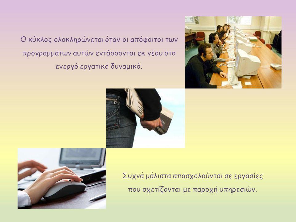 Ο κύκλος ολοκληρώνεται όταν οι απόφοιτοι των προγραμμάτων αυτών εντάσσονται εκ νέου στο ενεργό εργατικό δυναμικό.