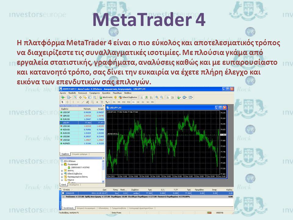 MetaTrader 4 H πλατφόρμα MetaTrader 4 είναι ο πιο εύκολος και αποτελεσματικός τρόπος να διαχειρίζεστε τις συναλλαγματικές ισοτιμίες.