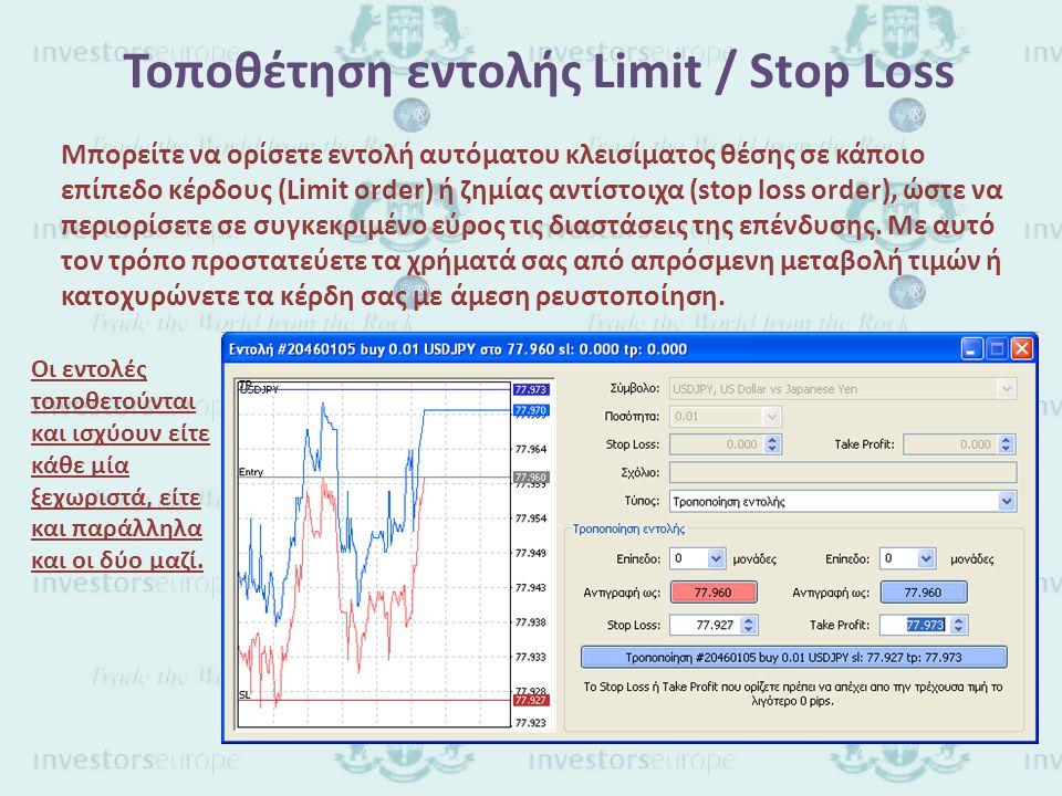 Τοποθέτηση εντολής Limit / Stop Loss Μπορείτε να ορίσετε εντολή αυτόματου κλεισίματος θέσης σε κάποιο επίπεδο κέρδους (Limit order) ή ζημίας αντίστοιχα (stop loss order), ώστε να περιορίσετε σε συγκεκριμένο εύρος τις διαστάσεις της επένδυσης.