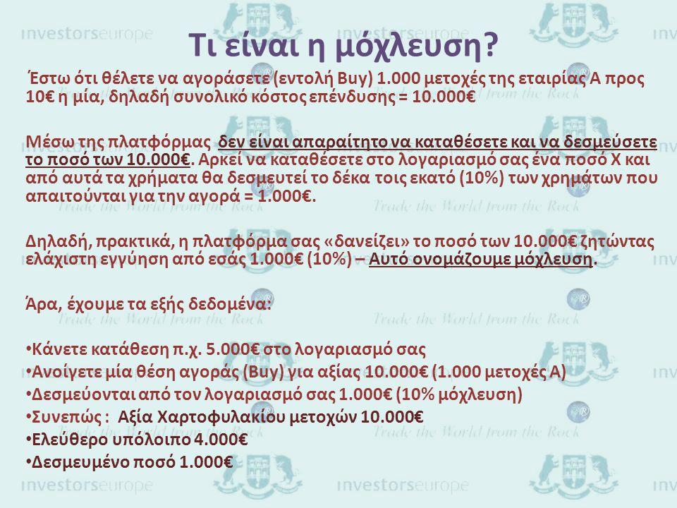 Παράδειγμα λειτουργίας με μόχλευση Έστω ότι έχουμε το προηγούμενο παράδειγμα με αρχική κατάθεση 5.000€ και άνοιγμα θέσης αγοράς για 1.000 μετοχές (αξία χαρτοφυλακίου 10.000€) Η εικόνα του λογαριασμού σας είναι • Ελεύθερο υπόλοιπο 4.000€ • Δεσμευμένο ποσό 1.000€ · Έστω ότι η τιμή της μετοχής μεταβληθεί στα 11€, δηλαδή κερδίσετε 1€ ανά μετοχή = 1.000€.