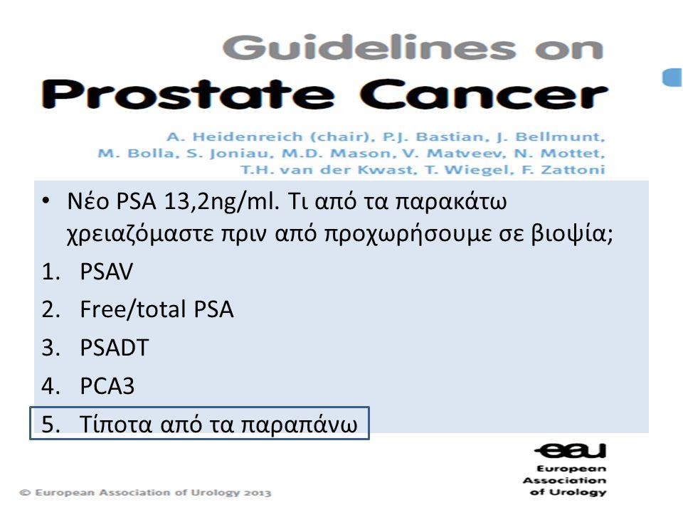 • Νέο PSA 13,2ng/ml. Τι από τα παρακάτω χρειαζόμαστε πριν από προχωρήσουμε σε βιοψία; 1.PSAV 2.Free/total PSA 3.PSADT 4.PCA3 5.Τίποτα από τα παραπάνω