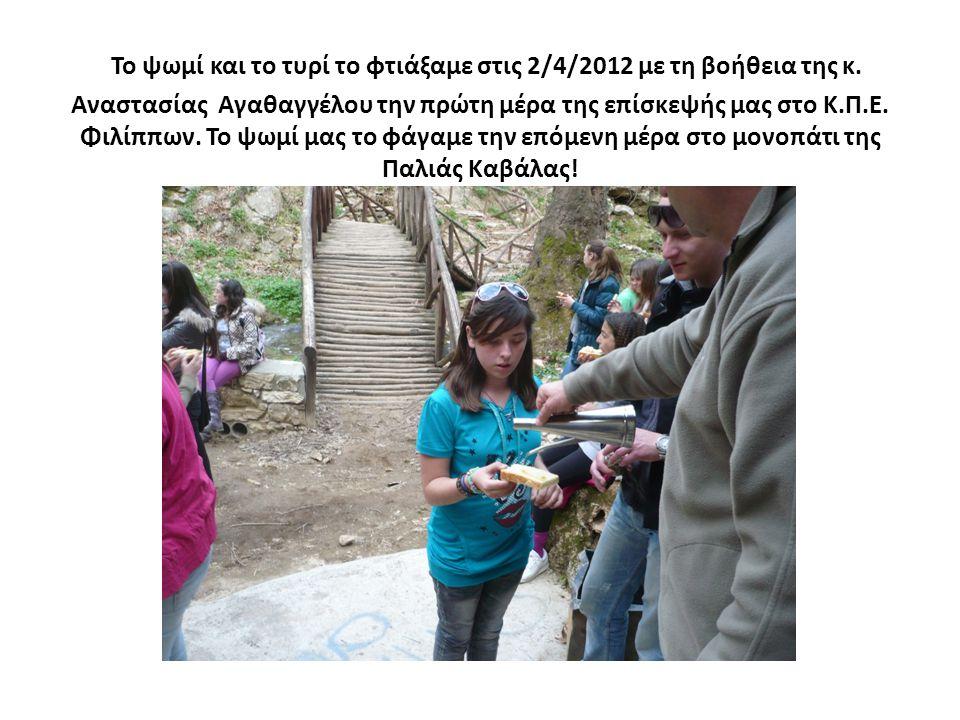 Το ψωμί και το τυρί το φτιάξαμε στις 2/4/2012 με τη βοήθεια της κ. Αναστασίας Αγαθαγγέλου την πρώτη μέρα της επίσκεψής μας στο Κ.Π.Ε. Φιλίππων. Το ψωμ