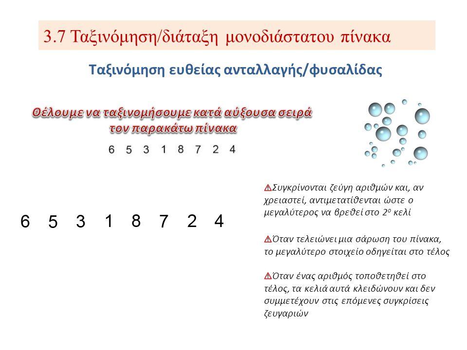 3.7 Ταξινόμηση/διάταξη μονοδιάστατου πίνακα Ταξινόμηση ευθείας ανταλλαγής/φυσαλίδας Συγκρίνονται ζεύγη αριθμών και, αν χρειαστεί, αντιμετατίθενται ώστ